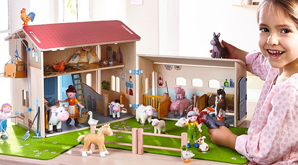 • Little ferme, collection Little friends, 89 €, Haba. https://www.borntobekids.fr